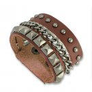 Punk Style Stainless Steel Rivet Chain Leather Bracelets