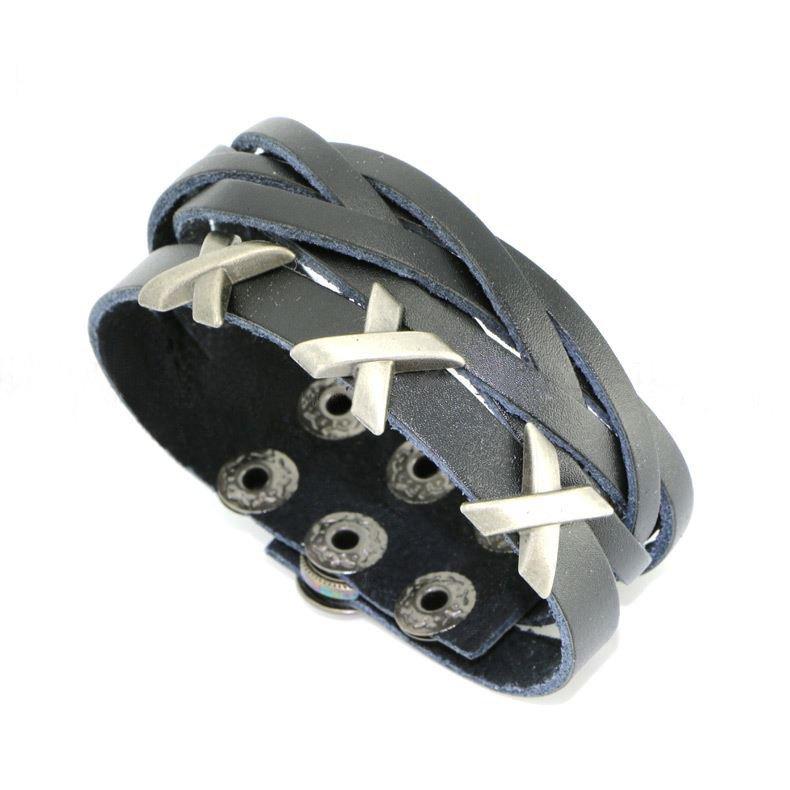 Fashion Metal X Snap Button Black Leather Bracelets