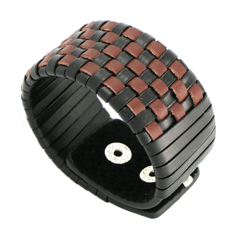 Black & Brown Braid Snap Button Leather Bracelet