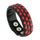 Popular Multilayer Black & Red Braid Snap Button Leather Bracelet