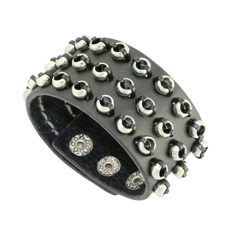 Punk Style Stainless Steel Rings Snap Button Leather Bracelets