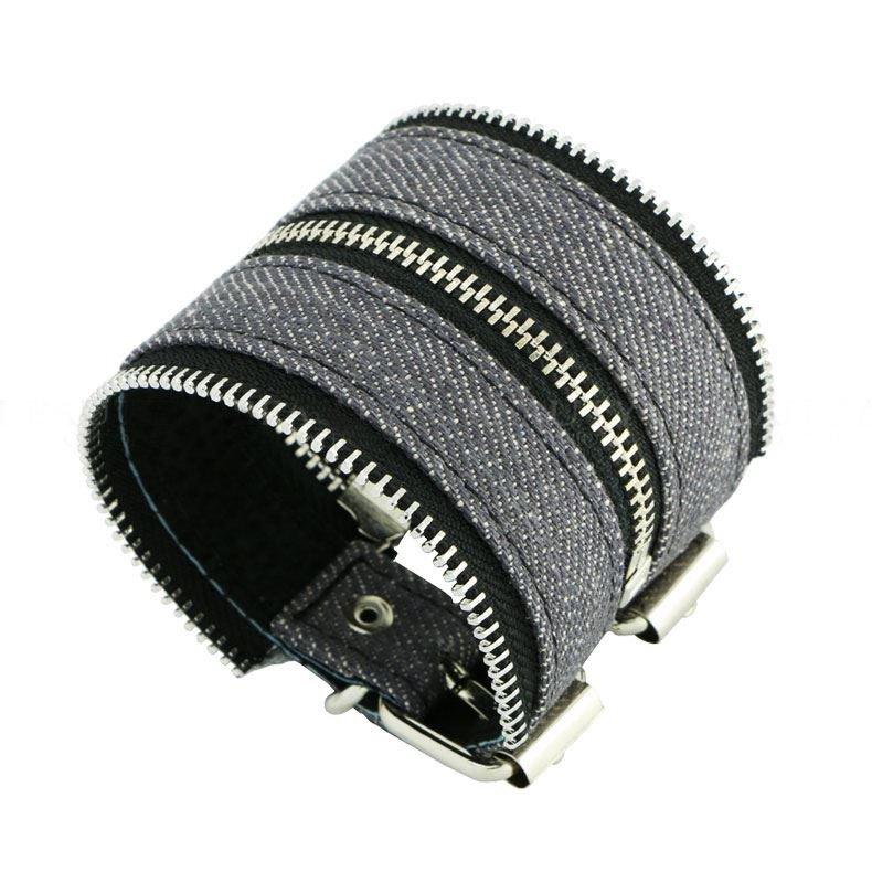 Attractive Zipper Style Denim Leather Bracelets