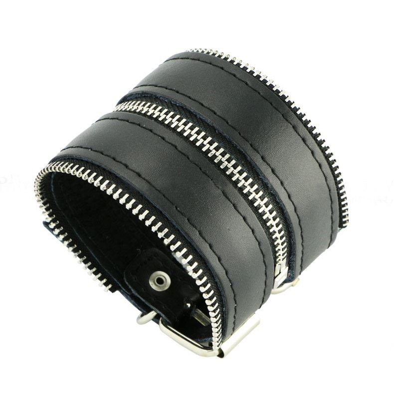 Punk Rock Leather Bracelets Zipper Style