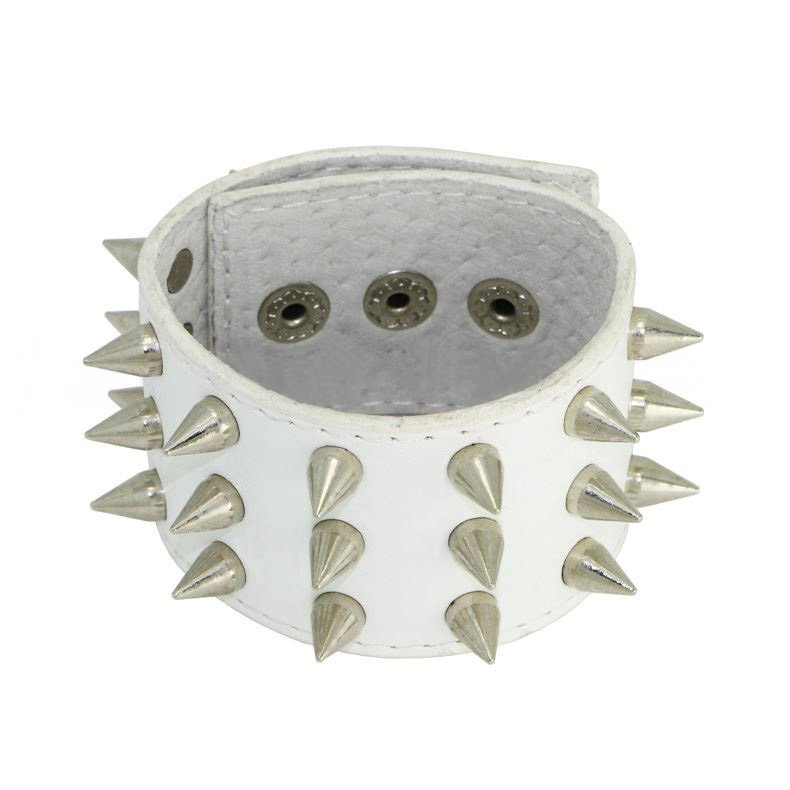 Pure White Punk Alloy Spike Rivet Leather Bracelet