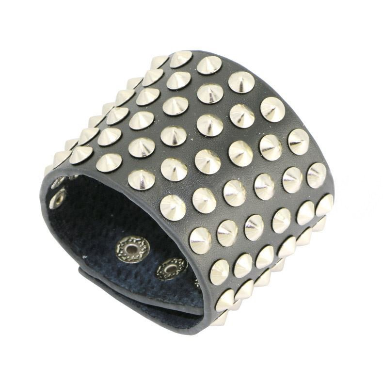 Wide Black Leather Bracelet with 6 Layers Round Rivets