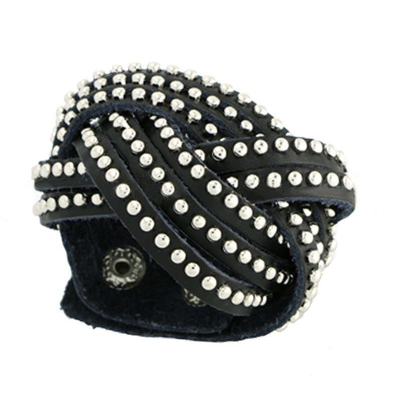 Wrap Leather Bracelet with Rhinestones