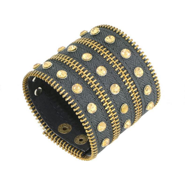 Luxury Fashion Alloy Metal Leather Bracelet