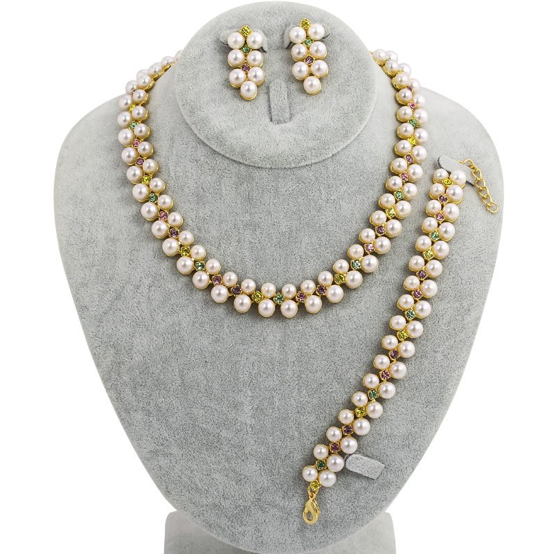 Vintage Chunky Choker Pearl Necklace Sets