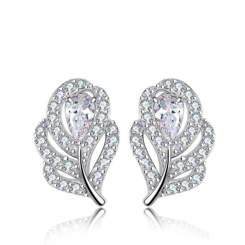 Sterling Silver White Leaf Made with Cubic Zirconia