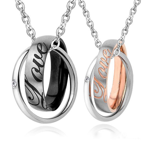 Double Interlocking Rings Pendant Necklace