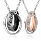 Double Interlocking Rings Pendant Necklace