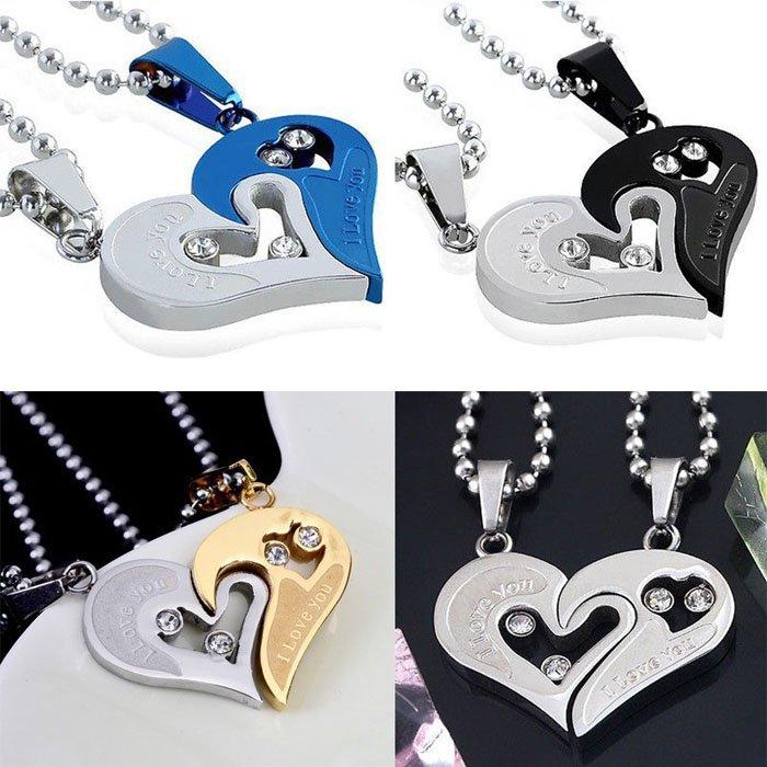Collage Heart Shape Pendant Couple Necklace