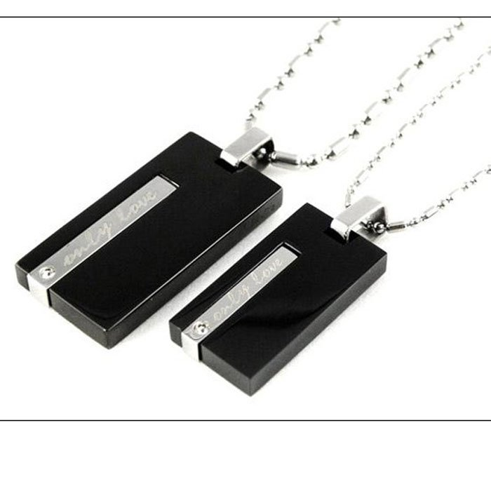 Black Plated Rectangle Shaped Couple Necklace