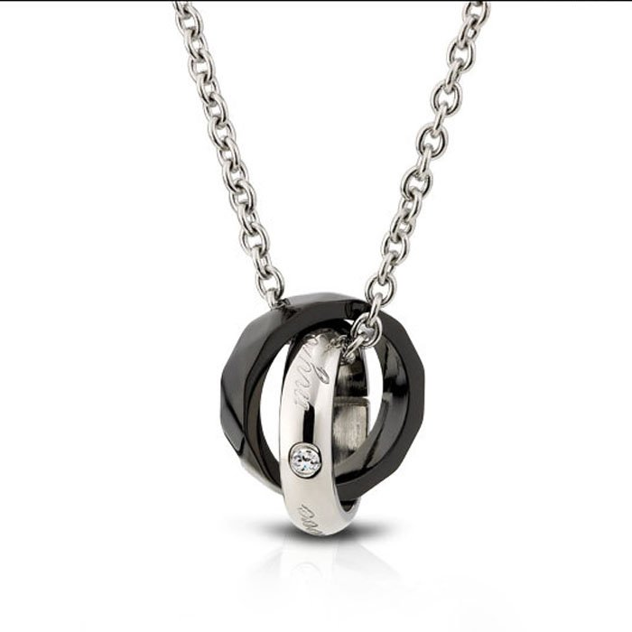 Double Interlocking Ring Lovers Necklace