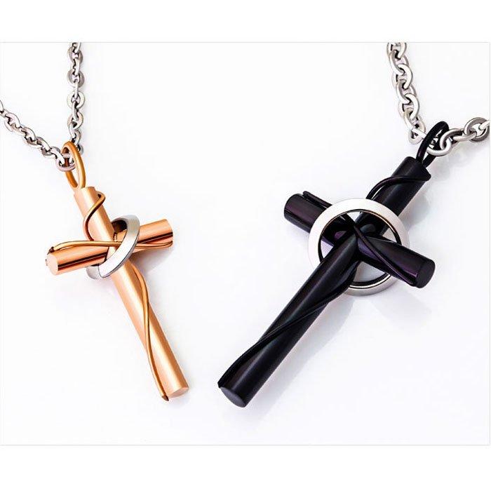 Titanium Cylindrical Cross Couple Necklace