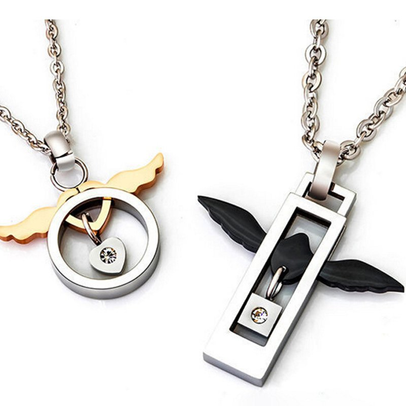 Angel Wings Titanium Steel Couple Necklace Jewelry