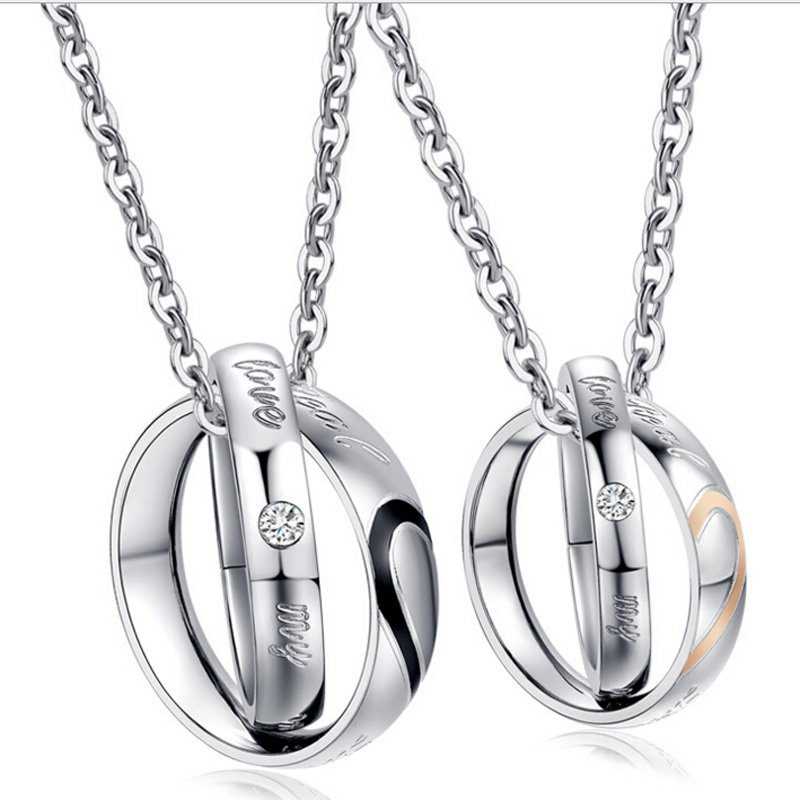 Love Titanium Couple' Double Rings Pendants Necklace