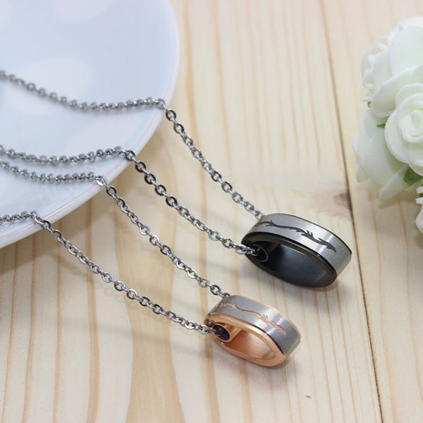 Lovers's Brushed Titanium Comfort-fit Necklace