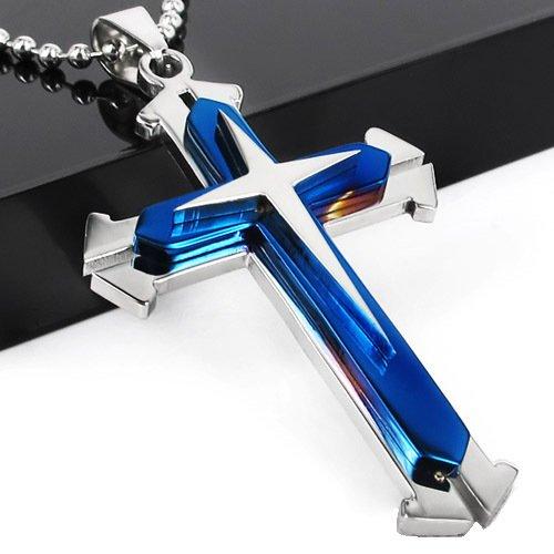 Split Stainless Steel Cross Pendant Necklace