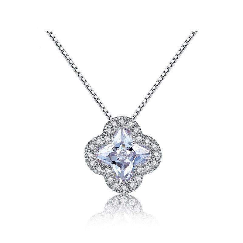 S925 Sterling Silver Pendant Necklace With AAAA Cubic Zirconia