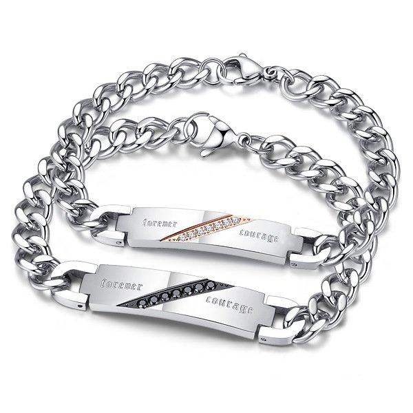 Diamond Embellished Couple's Bracelet Jewelry