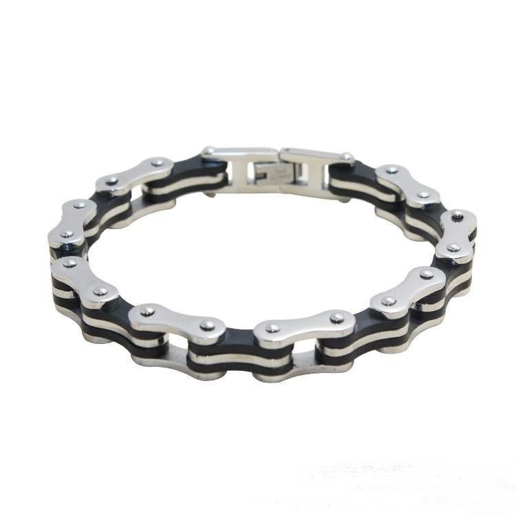 Crucible Bicycle Style Link and Rubber Accents Chain Bracelet