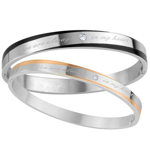 Two-tone Couples Bangle Bracelet Jewelry