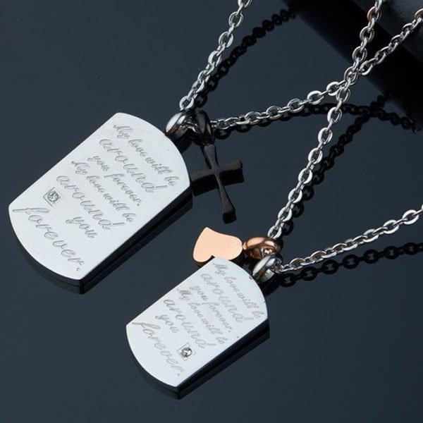 Fashion Elegant Lovers Engravable Diamond Dog Tag Necklace
