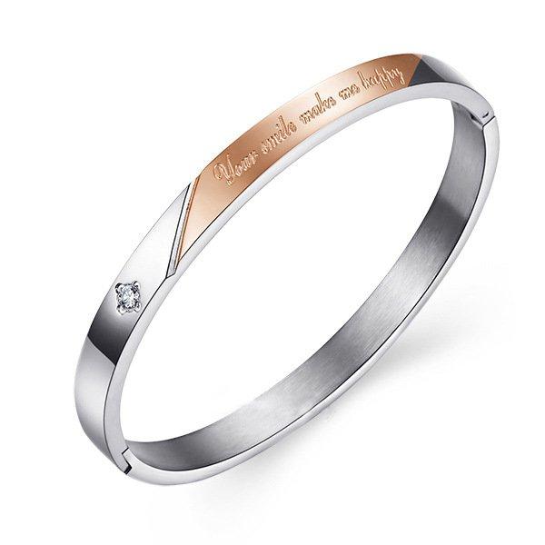Diamond Lovers Bracelets Engraved Bangle