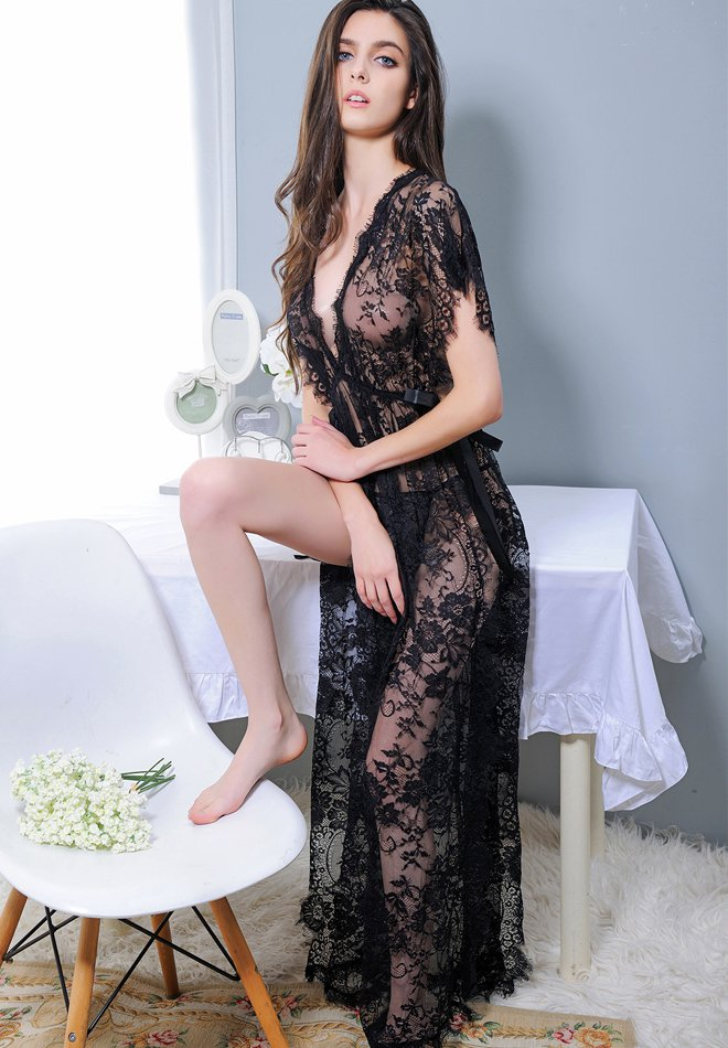 Sexy Lingerie Long Gown Lingerie Lace Nightgown