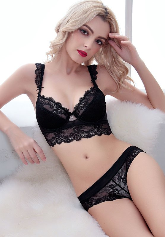 Red Color Floral Lace Lingerie Push up Bra Sets
