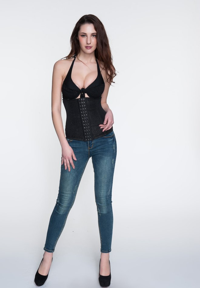 Floral Lace Print Three Hooks Corset