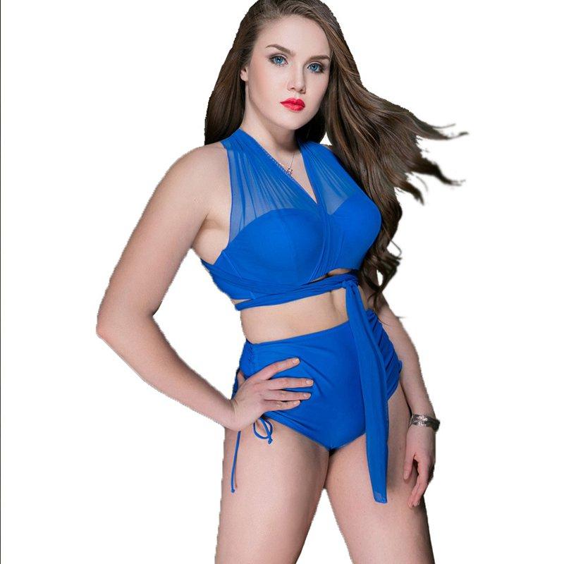 Plus Size Swimwear Sexy Swimsuit High Waist Sports Net Yarn