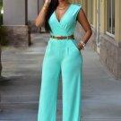 Solid Color V-Neck Jumpsuits With Belt
