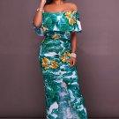 Multi-Color Floral Print Off-The-Shoulder Maxi Dress