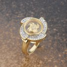 Gold Plated Crystals Round Windmill Ring