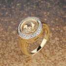 Gold Plated Round Cut Crystal Ring