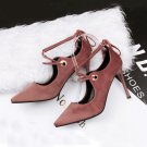 Light suede mouth cross with high heels