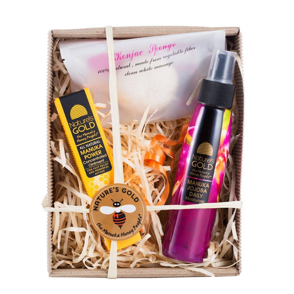 Manuka Honey Skin Care Gift Box - Includes Ointment, Moisturizer, Konjac Sponge