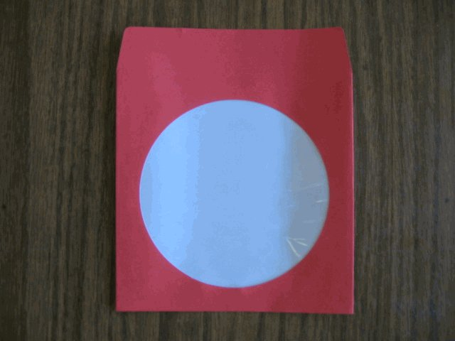100 RED CD PAPER SLEEVES w/ WINDOW AND FLAP - JS201