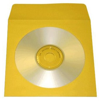 100 YELLOW CD PAPER SLEEVES w/ WINDOW & FLAP - JS204