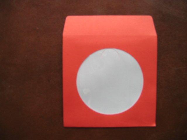 "100  3"" RED MINI CD-R PAPER SLEEVE ENVELOPE JS207"