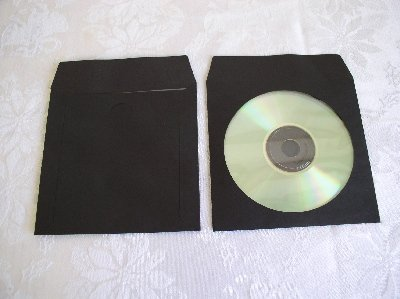 100 BLACK CD PAPER SLEEVES w/ WINDOW & FLAP - PSP40