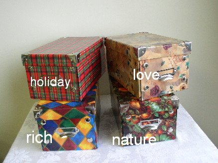 4 Small Decorative Storage Boxes - LOVE Pattern