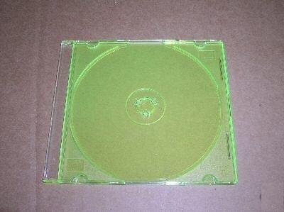 100 5.2mm SLIM CD JEWEL CASES W/ GREEN TRAY- PSC16GRN