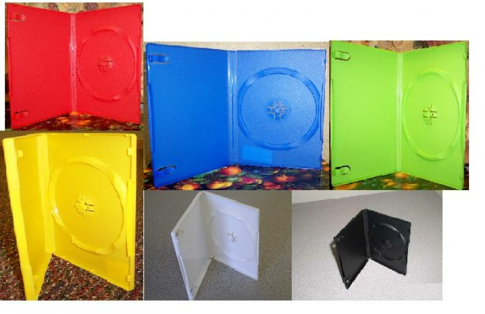 50 NEW STANDARD DVD CASES, MIXED COLORS! OPAGUE