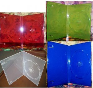 50 NEW STANDARD DVD CASES, MIXED COLORS! TRANSLUCENT