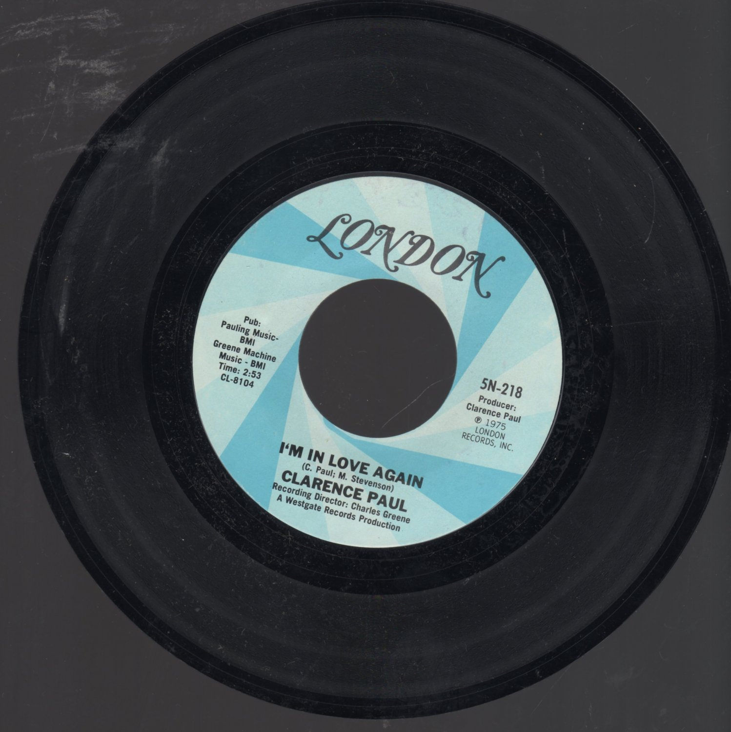 CLARENCE PAUL & MEMBERS: I'm In Love Again 45 Record