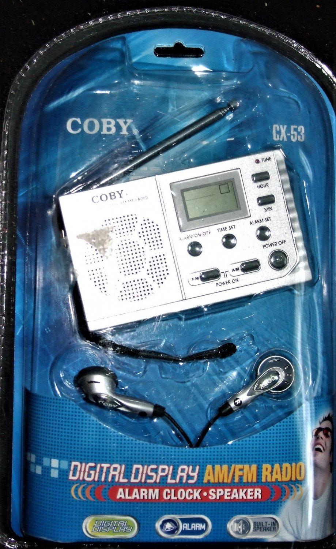 coby cx 53 digital display am fm radio ~ alarm clock speaker headphones