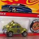 VW BAJA BEETLE Bug Volkswagen w/Mattel Button Lime